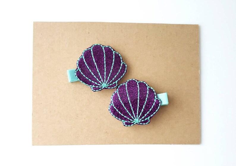 Mermaid Seashell Feltie Clips Cute Hair Clippies Purple and Aqua Glitter Seashell Hair Clip Set Girls Pigtail Clips Mermaid Hair Clips