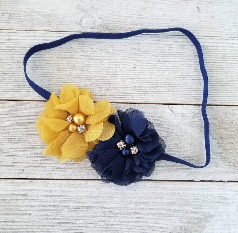 Navy Blue And Mustard Headband Navy Blue Headband Mustard Etsy