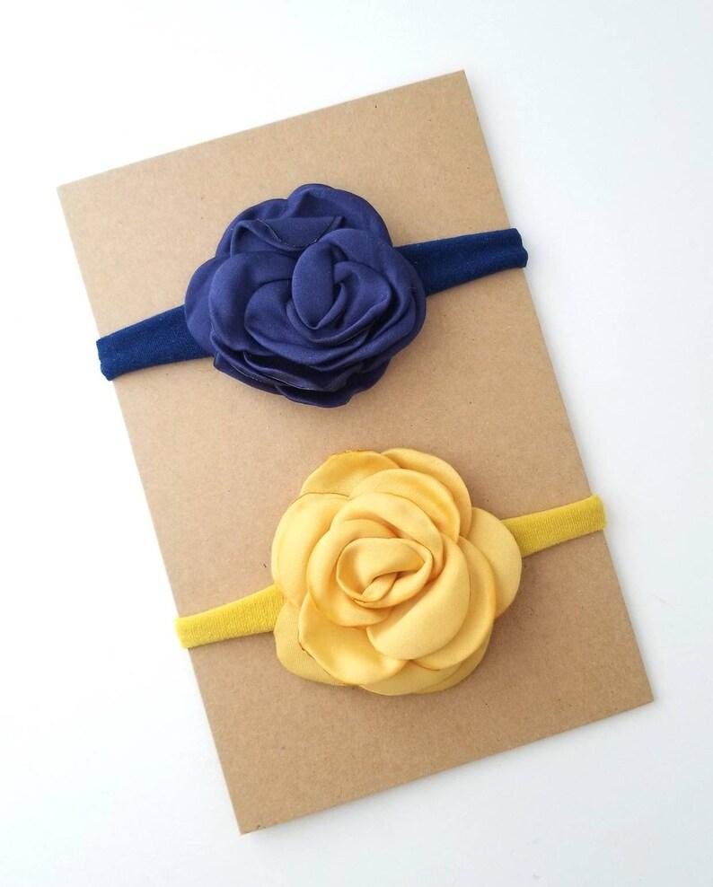 Mustard Navy and Ivory Chiffon Flower Headband Thanksgiving Bow Fall Baby Headband Mustard Gold Bow Navy Blue Newborn Headband