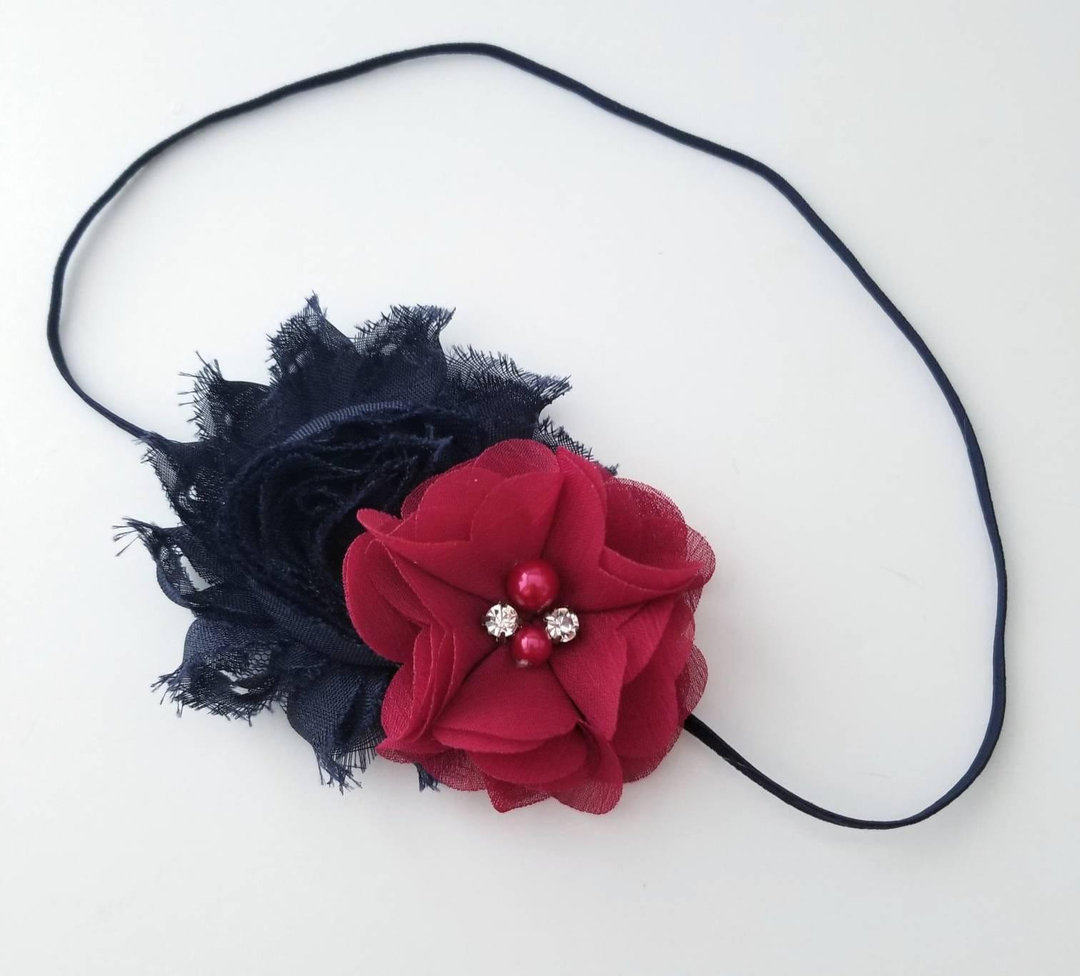 Newborn clip Infant Headband,Baby Headband Baby Headband Blue navy hair clip,Flower Baby clip baptism headband Headband Baby