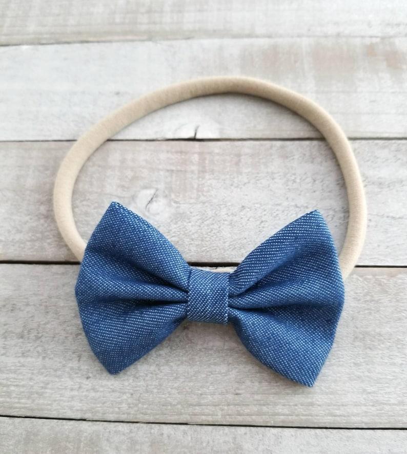 Newborn Headband Nylon Baby Headband Newborn Nylon Headband Blue Denim Bows Denim Hair Bow Baby Girl Headbands Denim Bow Headband
