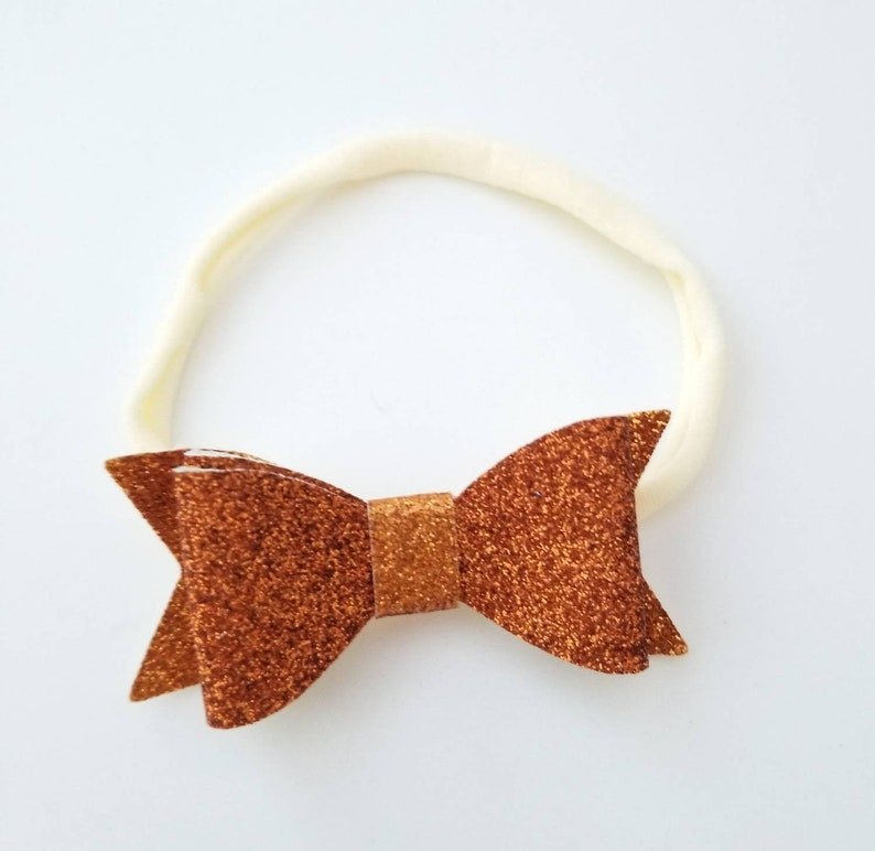 Glitter Bow Headband Orange and Ivory Nylon Headband Nylon Baby Headband Preemie Headband Newborn Headband Orange Bow Headband