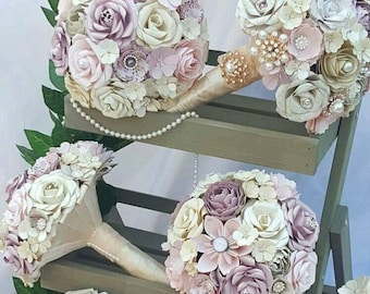 Vintage paper flower bouquet, wedding package