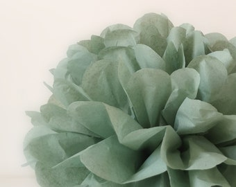 1 Tissue Paper Flower - Sage green - All sizes - Party decoration - Vintage Party - Paper Pom Poms - Wedding set - Birthday decorations