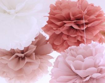Tissue Paper Flowers set of 12 (4/4/4) - Hanging Flowers - Paper Pom Poms - Paper Balls - Wedding set - Birthday decorations