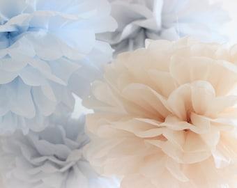 Tissue Paper Flowers set of 6 (3L/3M) - Hanging Flowers - Paper Pom Poms - Paper Balls - Wedding set - Birthday decorations