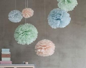 Tissue Paper Balls set of 10 (5/3/2) - Pastel blue green pink - Hanging Flowers - Paper Pom Poms - Paper Flowers - Vintage decorations