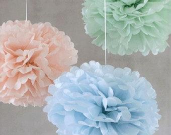 Tissue Paper Vintage colors set of 9 - Blush - Ice blue - Sage green - Hanging Flowers - Wedding set - Birthday decorations