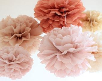 Tissue Paper Huge Flowers set of 8 (4L/4M) - Hanging Paper Pom Poms - Paper Balls - Wedding set - Birthday decorations