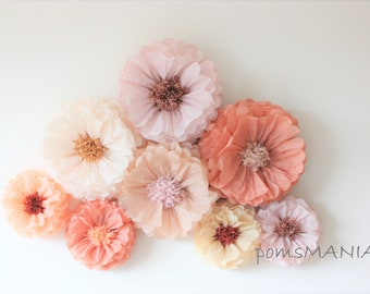 3D centerpiece decorations - Tissue Paper Flowers set of 15 -  Huge Paper Blooms - Baby shower - Birthday Party Backdrop wallpaper