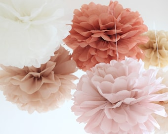 Tissue Paper Flowers set of 10 - Vintage rose Birch Parchment Terracotta Champagne Tan - Paper Pom Poms -  Birthday decorations