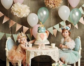 Tissue Paper Flowers set of 12 (4/4/4) - Luxurious Princess Party - Paper Pom Poms - Paper Balls - Wedding set - Birthday decorations