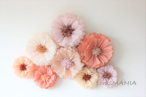 Tissue Paper Flowers Set Of 10 5 5 Huge Paper Blooms Baby Shower Birthday Decorations Backdrop Wallpaper