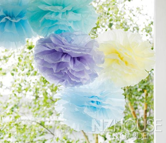 Tissue paper flowers set of 15 hanging flowers pastel etsy image 0 mightylinksfo
