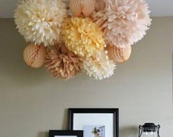 Tissue Paper Soft colors set of 6 - Vintage rose- Hanging Flowers - Paper Pom Poms - Paper Balls - Wedding set - Birthday decorations