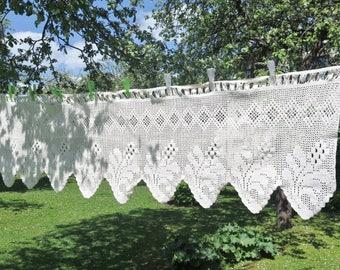 Vintage Langen Vorhang Volant Floral Schwedische Gehäkelt Etsy