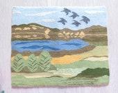 Woven Wool Decor Vintage Swedish Tapestry Landscape Lake Birds Flamsk Flemish Handwoven Decor Traditional Scandinavian 3-61-21