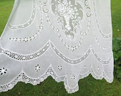 French Long Crochet Lace Curtain Single Panel, Country Romantic Chic Window, Vintage Floral Curtain 4-13-11