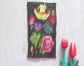 Vintage Swedish Woven Folk Art Wall Decor Flemish Flamsk Tapestry Black Pink Yellow Flowers Vintage Scandinavian Interior 3-61-8