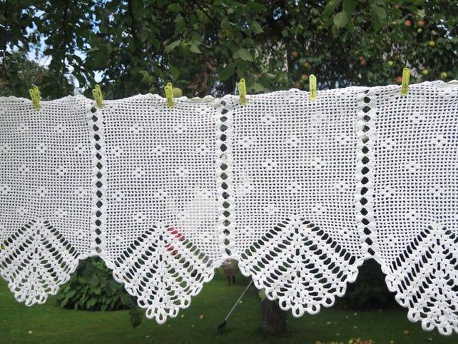 Cortina cenefa geométrica patrón ganchillo ventana cortina | Etsy