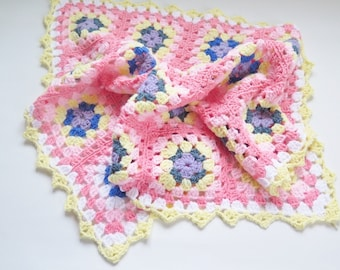 Crochet Baby Blanket Granny Square Baby Afghan Quilt Throw 82 x 63 cm / 32 x 25 inch, Baby Crib Cover (Ready To Ship) #2-17