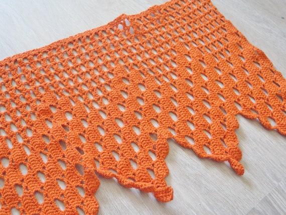 Orange Crochet Lace Curtain #3-51-6 193 x 38 cm  75.9 x 14.9 inch Crochet Curtain Valance Vintage Long Crocheted Filet Window Valance