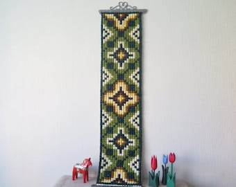Vintage Cross Stitch Embroidered Folk Art Wall Decor Geometric Long Tapestry Hanging Scandinavian Ornamented Home Interior Fiber Art #3-52-3