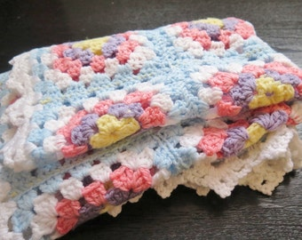 Crochet Baby Blanket Granny Square Baby Afghan Quilt Throw : 85 x 68 cm / 33,4 x 26,7 inch, Light Blue Baby Crib Cover #2-17