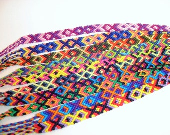 Handmade friendship bracelets in every colour and combination