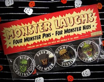 "MONSTER LAUGHS! 1.5"" Frankenstein Creature Mummy Wolfman Pin Back Button Set"