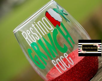 Resting Grinch Face  Wine Glass