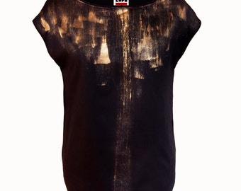 Graphic top black gold /painting selection/