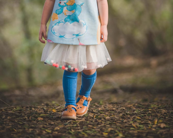 Cornflower Blue Knee High Socks Hand Dyed Toddler Knee High Socks Baby Children's Girl's Socks Uniform Style Socks Dyed Spring Socks Blue