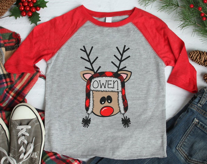 Boy Christmas Shirt Crazy Reindeer Personalized Red Gray Raglan Funny Reindeer Buffalo Plaid Reindeer Name Shirt Boy Toddler Baby Youth