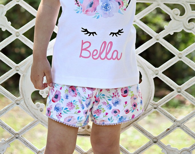 Watercolor Floral Pom Pom Trim Shorts Jersey Knit Shorts Pink Purple Aqua Watercolor Floral Girl Shorts Shorties Summer Shorts Girly Floral