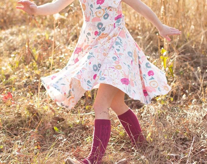Raspberry Knee High Socks Hand Dyed Berry Burgundy Toddler Knee High Socks Baby Children's Girl's Socks Spring Uniform Dyed Spring Sock