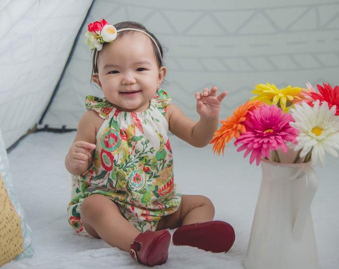 Baby Romper Toddler Romper Wild Flower Baby Romper Mustard Floral Romper Modern Baby Romper Flutter Sleeve Romper Knit Romper Microburst