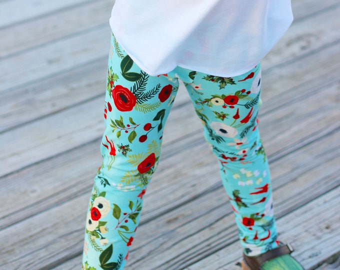 Christmas Leggings Christmas Baby Leggings Holiday Leggings Winter Aqua Vintage Floral Berries Holly Flowers Toddler Leggings Girl