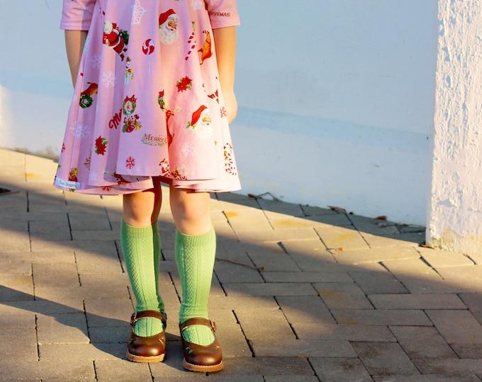 Green Knee High Socks Hand Dyed Toddler Knee High Socks Baby Children's Girl's Socks Uniform Style Socks Dyed Green Socks