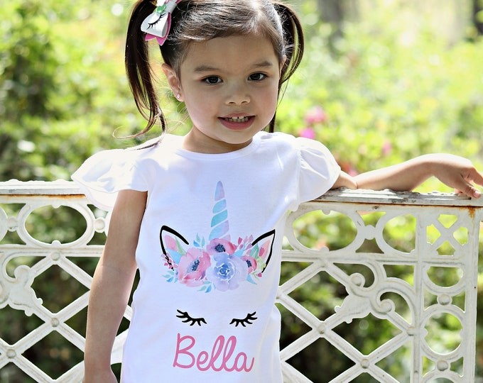 Unicorn Face Flutter Shirt Personalized Onesie Flutter Sleeve Unicorn Shirt Black Raglan Birthday Shirt Girl Shirt Monogram Spring Flowers