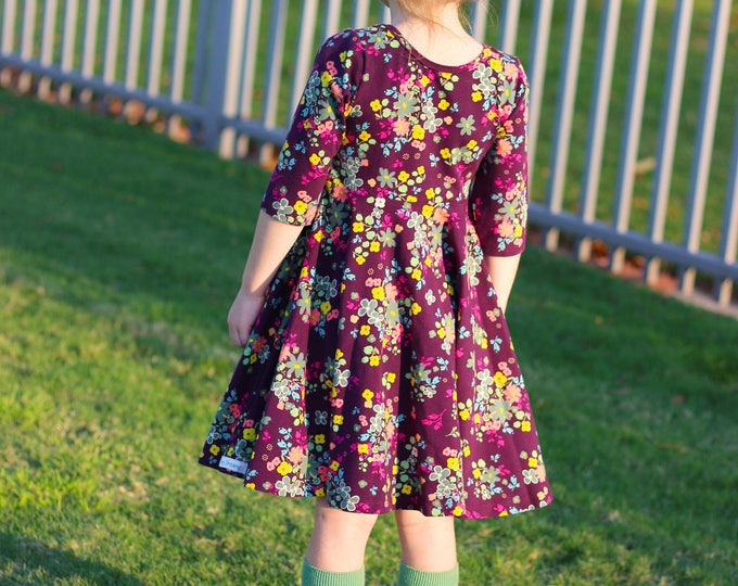 Plum Fall Floral Twirl Dress Christmas Twirly Fall Plum Green Mustard Dress Little Flowers Toddler Girl Dress Girl Twirly Dress