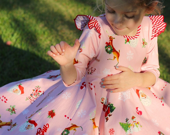 Christmas Dress Vintage Christmas Santa Twirl Dress Twirly Dress Candy Cane Dress Reindeer Dress Santa Claus Dress Winter Dress