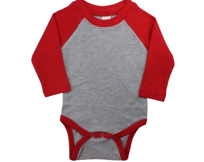 BLANK Colored Sleeve Onesie Monag Onesie Baby Shirt Winter Boy Raglan Outfit Christmas Baby Raglan Ready to Print Colored Sleeve Baby Raglan