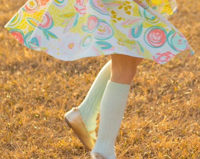 Mint Knee High Socks Hand Dyed Mint Green Toddler Knee High Socks Baby Children's Girl's Socks Spring Uniform Dyed Mint Spring Sock