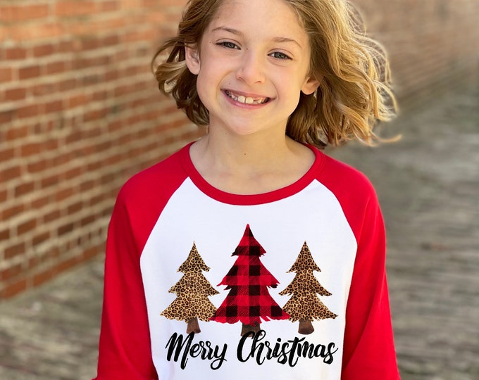 Girl Merry Christmas Shirt Christmas Red Plaid Leopard Print Christmas Trees Red Ruffle Raglan Unisex Christmas Tree Holiday Shirt Winter