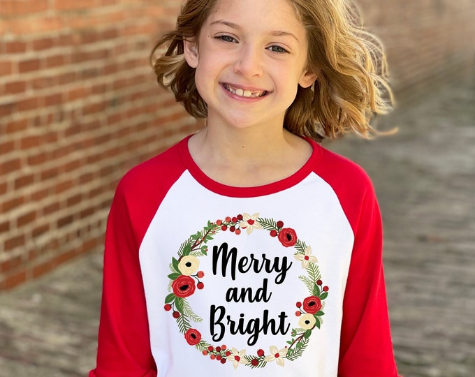 Girl Christmas Shirt Merry And Bright Red Green Watercolor Floral Wreath Christmas Red Ruffle Raglan Holly Berries Winter Girl Holiday Shirt