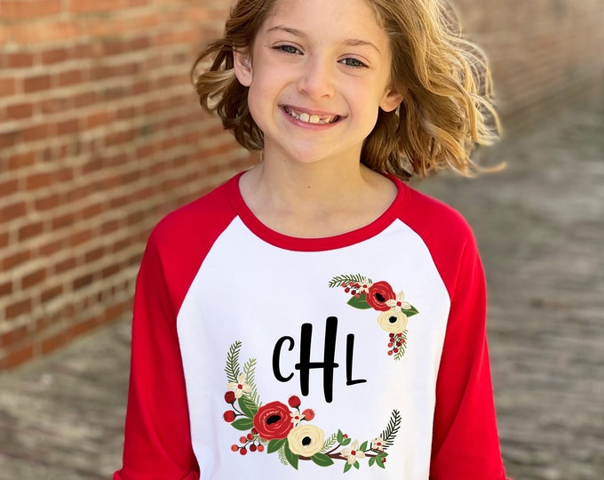 Girl Personalized Christmas Shirt Red Green White Watercolor Floral Personalized Monogram Initial Christmas Red Ruffle Raglan Holly Berries