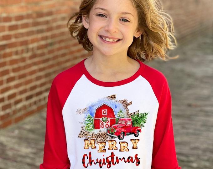 Girl Christmas Barn Shirt Plaid Leopard Print Red Truck Red Barn Red Ruffle Raglan Unisex Christmas Winter Vintage Truck Plaid Christmas