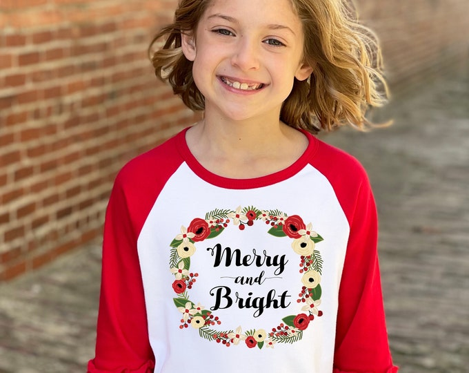 Girl Christmas Shirt Merry And Bright Red Green Watercolor Floral Wreath Christmas Red Ruffle Raglan Holly Berries Winter Girl Holiday
