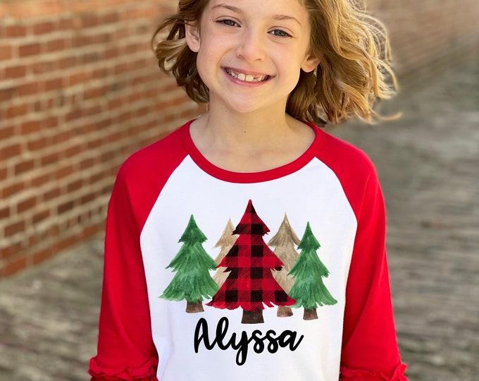 Girl Christmas Tree Shirt Red Plaid Green Gold Watercolor Christmas Trees Personalized Red Ruffle Raglan Unisex Plaid Pine Tree Shirt Winter